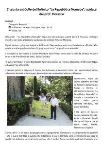 E' giunta sul Colle dell'Infinito _La Repubblica Nomade_, guidata dal prof. Moresco